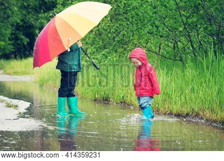 Children Walking In Wellies In Puddle On Rainy Weather. Boy Holding Colourful Umbrella Under Rain In