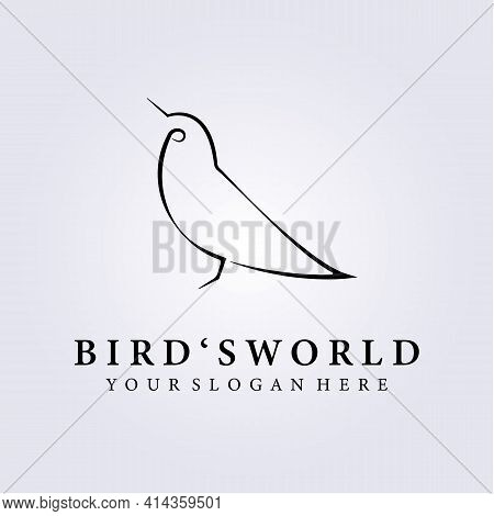 Bird Lover, Bird's World Logo Vector Illustration Design , Mini Simple Line Art Bird Logo