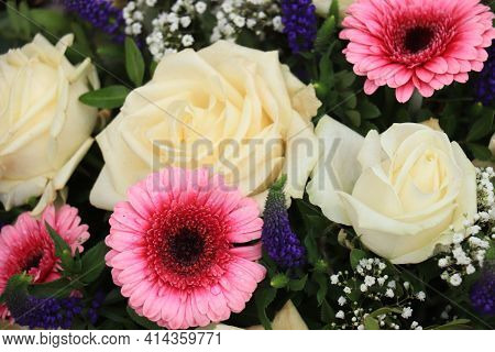 White Roses And Pink Gerberas In A Big Wedding Centerpiece