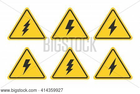 Danger High Voltage Yellow Sign. High Voltage With Lightning Bolt Icons Set. Energy And Thunder Symb
