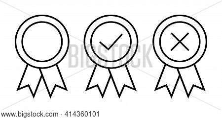 Approval Vector Icon. Set Premium Quality Badges With Ribbons. Quality Stamp Or Medal. Certificate S