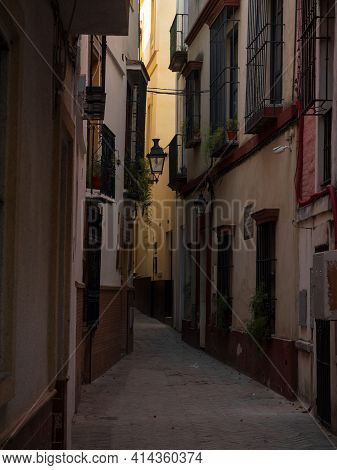 Charming Narrow Cobblestone Street Alley Mediterranean Rustic Architecture In Historic Centre Old To