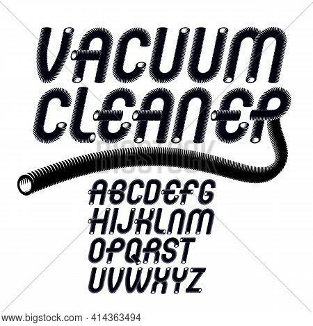 Vector Upper Case Modern Alphabet Letters Set. Trendy Italic Font, Typescript For Use In Logo Creati