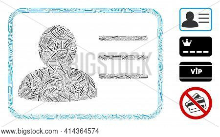 Linear Collage Account Card Icon United From Narrow Items In Various Sizes And Color Hues. Lines Ite