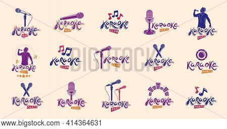 Karaoke Logos And Emblems Vector Set, Microphones And Musical Notes Singing Party Or Club Compositio