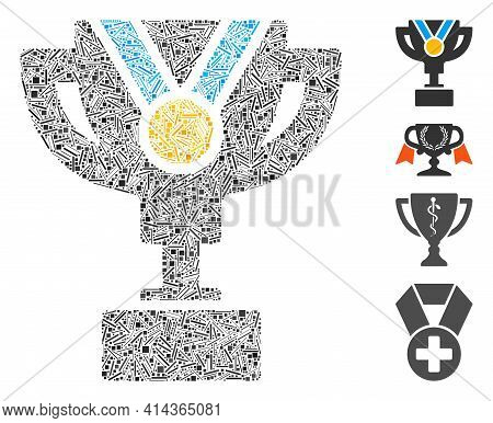 Hatch Collage Award Cup Icon Organized From Straight Elements In Different Sizes And Color Hues. Irr