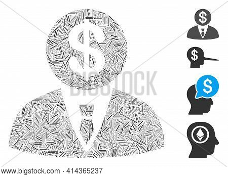 Hatch Mosaic Banker Icon Composed Of Straight Items In Different Sizes And Color Hues. Lines Items A