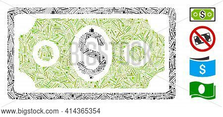 Linear Collage Banknote Icon Organized From Straight Items In Different Sizes And Color Hues. Linear