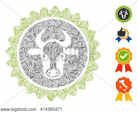 Hatch Collage Beef Certificate Seal Icon Composed Of Straight Elements In Random Sizes And Color Hue