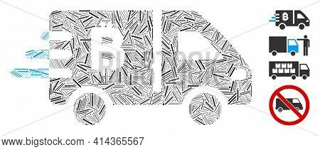 Linear Mosaic Bitcoin Express Car Icon Constructed From Thin Elements In Variable Sizes And Color Hu