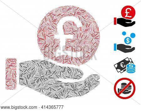 Linear Collage British Pound Coin Payment Icon Composed Of Narrow Elements In Random Sizes And Color