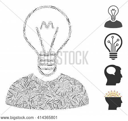 Hatch Mosaic Bulb Inventor Icon Constructed From Straight Elements In Random Sizes And Color Hues. I