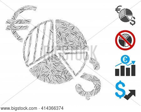 Hatch Collage Currency Pie Chart Icon Organized From Thin Items In Different Sizes And Color Hues. I