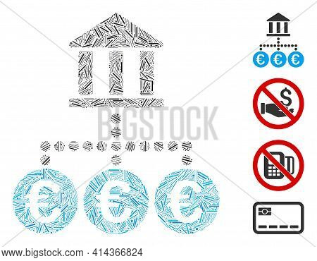 Line Collage Euro Bank Transactions Icon Composed Of Straight Elements In Various Sizes And Color Hu