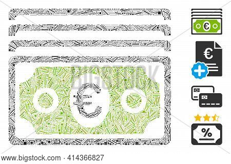 Linear Mosaic Euro Banknotes Icon Organized From Straight Items In Various Sizes And Color Hues. Lin