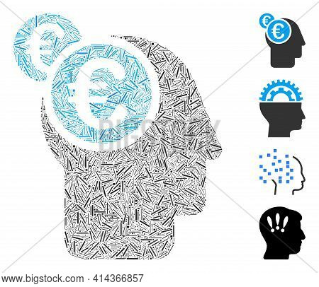 Linear Mosaic Euro Businessman Intellect Icon United From Thin Elements In Variable Sizes And Color