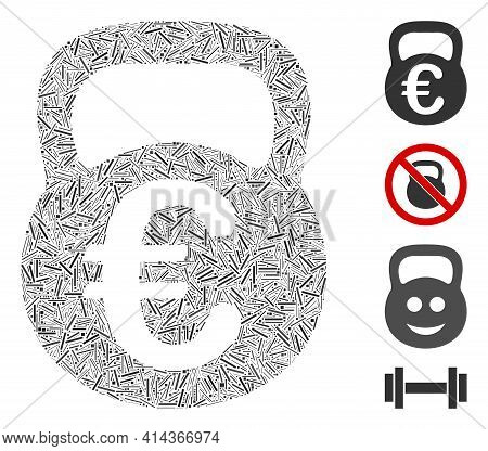 Hatch Collage Euro Weight Icon United From Narrow Elements In Variable Sizes And Color Hues. Irregul