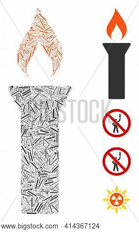 Linear Mosaic Fire Torch Icon United From Thin Elements In Various Sizes And Color Hues. Irregular H
