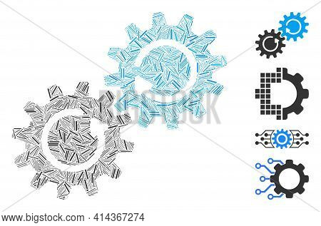 Linear Collage Gear Mechanism Rotation Icon Organized From Narrow Elements In Different Sizes And Co