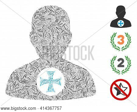 Hatch Mosaic Hero Medal Icon United From Thin Items In Various Sizes And Color Hues. Line Items Are