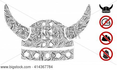 Hatch Mosaic Horned Helmet Icon Composed Of Straight Items In Different Sizes And Color Hues. Irregu