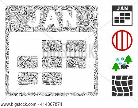 Hatch Mosaic January Calendar Grid Icon United From Thin Items In Random Sizes And Color Hues. Irreg
