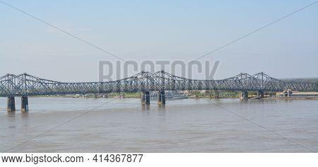 The Natchez Vidalia Bridge Spans Over The Mississippi River. The Tallest Bridge In Mississippi