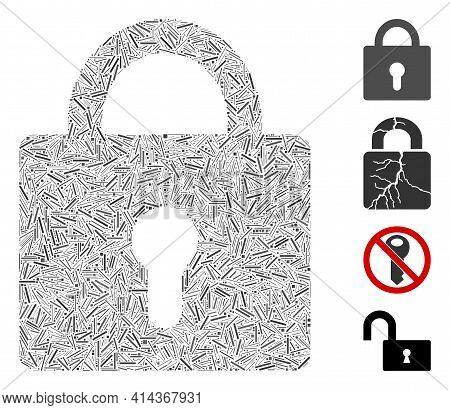 Hatch Collage Lock Icon United From Straight Items In Different Sizes And Color Hues. Irregular Hatc