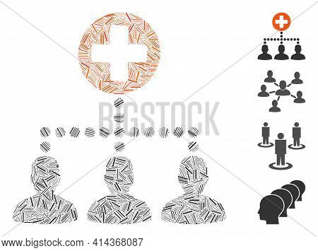 Hatch Collage Medical Client Links Icon Composed Of Narrow Elements In Different Sizes And Color Hue