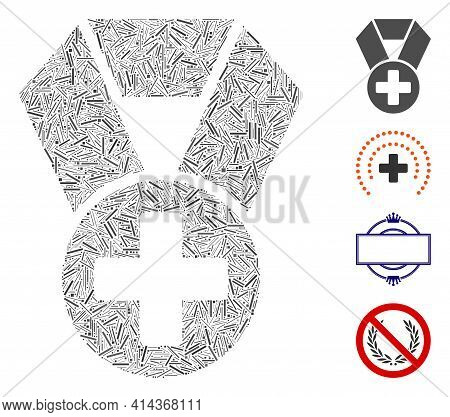 Hatch Mosaic Medical Cross Medal Icon Designed From Thin Elements In Various Sizes And Color Hues. I