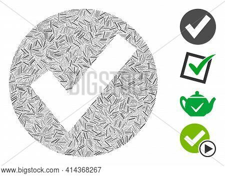 Line Mosaic Ok Mark Icon Organized From Thin Items In Variable Sizes And Color Hues. Lines Items Are