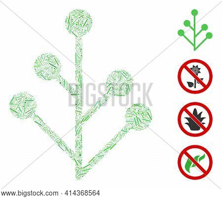 Hatch Collage Plant Sprout Icon United From Straight Items In Different Sizes And Color Hues. Irregu