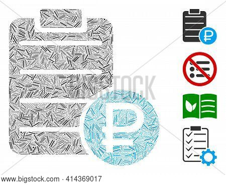 Hatch Mosaic Rouble Price List Icon Composed Of Straight Elements In Various Sizes And Color Hues. I