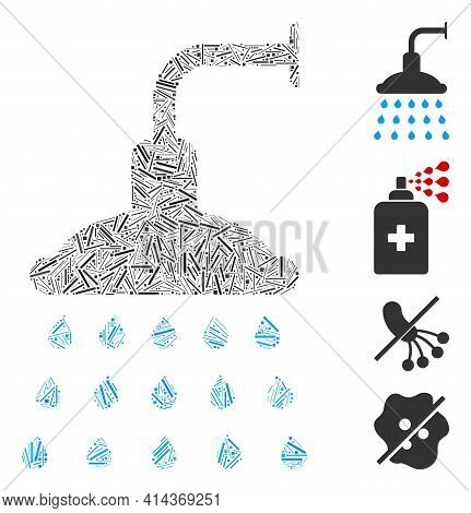 Hatch Collage Shower Icon Organized From Thin Elements In Variable Sizes And Color Hues. Irregular H
