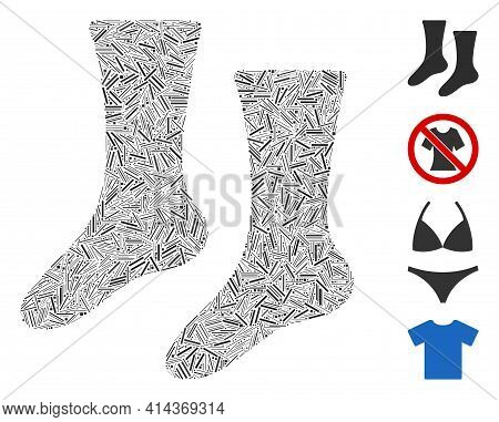 Hatch Collage Socks Icon Composed Of Thin Items In Different Sizes And Color Hues. Irregular Hatch I