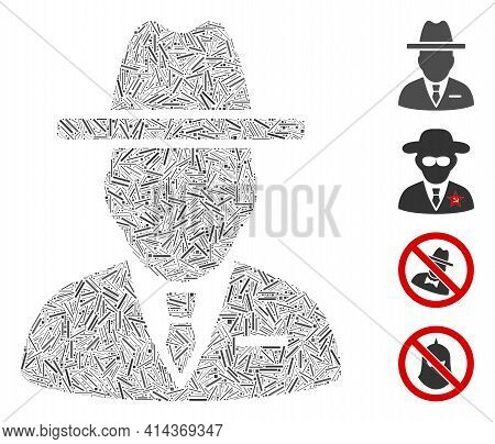 Hatch Collage Spy Person Icon United From Narrow Items In Variable Sizes And Color Hues. Irregular H
