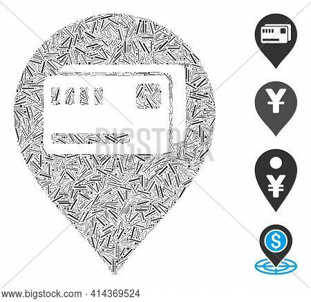 Line Mosaic Tickets Map Marker Icon Constructed From Straight Items In Various Sizes And Color Hues.