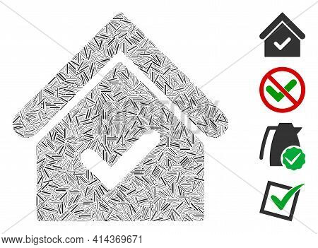 Hatch Mosaic Valid House Icon Organized From Thin Items In Variable Sizes And Color Hues. Lines Item
