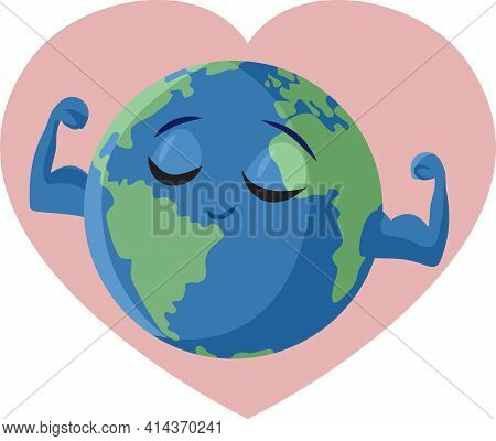 Strong Earth Flexing Muscles Vector Cartoon Illustration