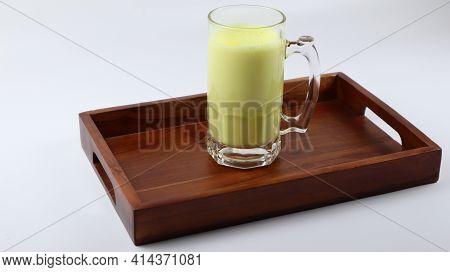 Immunity Boosting Antivirus Drink. Healthy Turmeric Latte Drink Milk In A Glass. Healthy Turmeric Mi