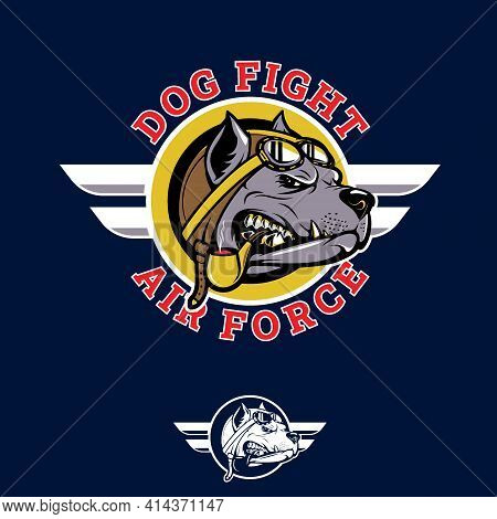 Dog Fight Insignia Pitbull Pilot Wwii Nose Art Emblem Style Vector Illustration. Can Be Used As Post