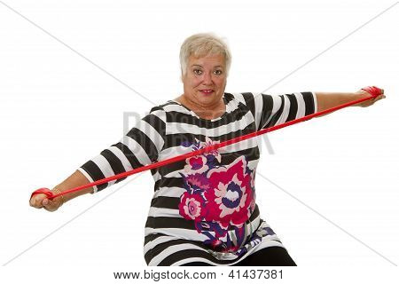 Female Senior Woman Exercises
