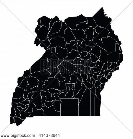 Uganda Country Map Vector With Regional Areas