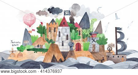 A pirate fortress on a tropical island. Treasure Island. Pirate ship, island and fortress. Watercolor card.