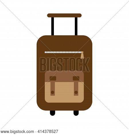 Suitcase Icon. Travel Baggage Vector Icon. Suitcase Flat Logo Isolated On White Background. Vector I