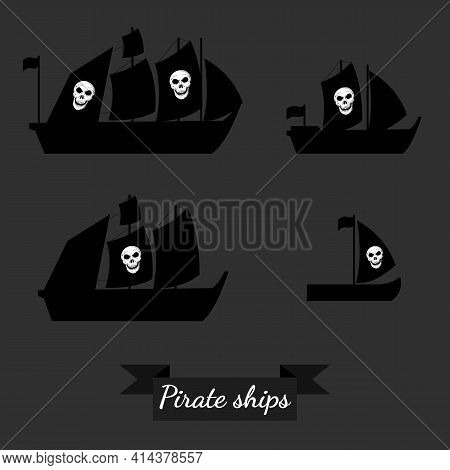 Set Of Pirate Ships. Vector Illustrations. Isolated. Flat.