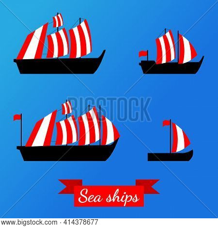 Set Of Ships. Vector Illustrations. Isolated. Flat.