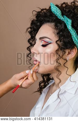 Makeup Artist Working With Model In Beauty Salon. Perfect Skin Facial. Beautiful Fashion Luxury Make