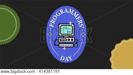 International Programmers' Day Typography Vintage Postcard. Text Patch Sticker. Freelancer Programme