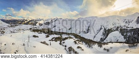 Caucasus Mountains Panorama In Winter In Gudauri With Dramatic.winter Blank Space Background